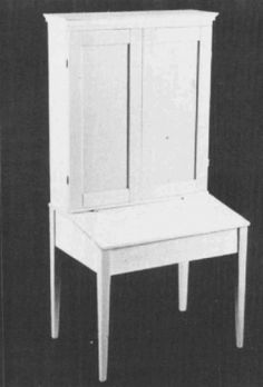 """Shaker Cupboard Desk, c. 1852. The desk is identified as a """"Western Shaker Plantation Press, signed by Moses Eastwood and probably came from one of the Shaker Communities in Ohio, Indiana, or Kentucky. Complete 1/12th scale plans, patterns, and instructions from Helen Dorsett. In The Scale Cabinetmaker, Volume 11:1. The issue is available as a pdf download from dpllconline.com."""