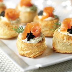 Smoked Salmon Blini Puffs--These caterer-style appetizers are so easy to make. Simple yet sophisticated…it just doesn't get any better than this! Snacks Für Party, Appetizers For Party, Appetizer Recipes, Elegant Appetizers, Potluck Recipes, Puff Recipe, Puff Pastry Recipes, Kitchen Gourmet, Gastronomia