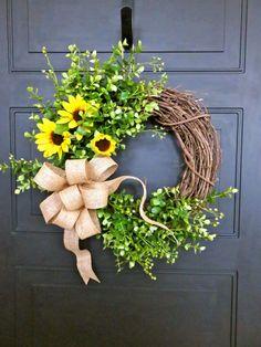 Spring Wreath for front Door Sunflower Wreath by MaineMadeWreaths