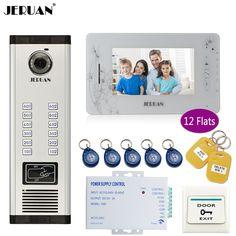 JERUAN 7`` LCD Monitor 700TVL Camera Apartment video door phone 12 kit+Access Control Home Security Kit+8GB Card+free shipping #Affiliate