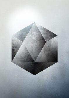 Sacred Geometry Two Art Print--nice shading for an icosahedron