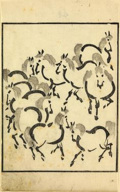 Page from a woodblock-printed illustrated book, depicting horses: Japan, 19th century