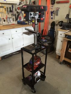Drill Press Stand Welding Projects, Projects To Try, Drill Press Stand, Future Shop, Shop Plans, Dream Garage, Garages, Cool Diy, Diy And Crafts