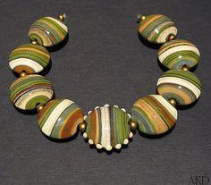 Juniper Green Brown & Ivory Lampwork Glass Lentil by AKDlampwork, $119.00