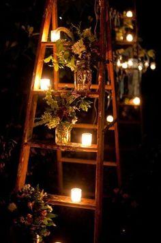 outdoor wedding reception decoration (ladder and candles ) by MercuriK Wedding Themes, Wedding Decorations, Wedding Ideas, Wedding Venues, Wedding Ceremony, Wedding Gifts, Wedding Details, Garden Party Decorations, Wedding Cars