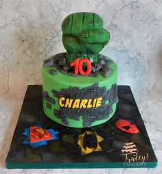 Hulk explosion cake with a few hero friends