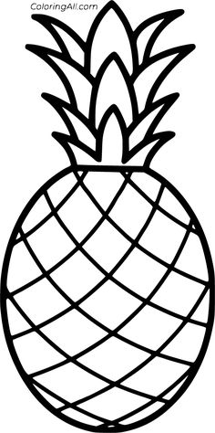 15 free printable Pineapple coloring pages in vector format, easy to print from any device and automatically fit any paper size. Fruit Coloring Pages, Easy Coloring Pages, Pattern Coloring Pages, Apple Coloring, Free Printable Coloring Pages, Pineapple Sketch, Pineapple Drawing, Pineapple Painting, Pineapple Pictures
