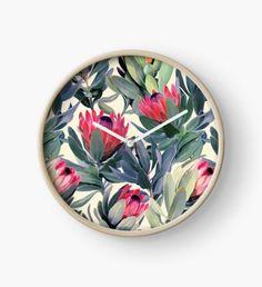 """Protea 'Southern Cross'"" Clocks by Quartz Clock Mechanism, Modern Prints, Hand Coloring, Art Boards, Framed Art Prints, Clocks, Southern, Metal, Artwork"