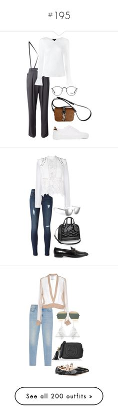 """""""#195"""" by ntcersyy ❤ liked on Polyvore featuring Emporio Armani, Burberry, Yves Saint Laurent, Ray-Ban, Hudson, self-portrait, Gucci, Sandro, Givenchy and Valentino"""