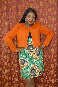 Orange jacket worn over ankara dress