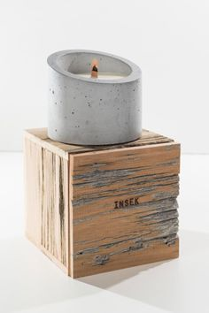 No, these Concrete Candles aren't bricks of cement with a wick in the middle. Instead, they're tea light candles inside a container that's made of concrete. Cement Art, Concrete Cement, Concrete Crafts, Concrete Projects, Concrete Design, Candle Containers, Candle Jars, Candles, Concrete Candle Holders