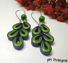 Green coloured leaf shaped dangle and drop styled handmade quilled earrings. Very light weight as made from paper. Quilling Earrings, Quilling Jewelry, Leaf Shapes, Different Patterns, Paper Mache, Dangles, My Etsy Shop, Handmade Jewelry, Paper Crafts