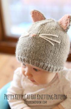 Pretty Kitty Cat Hat Knitting Pattern for newborns, babies and toddlers! | littleredwindow.com