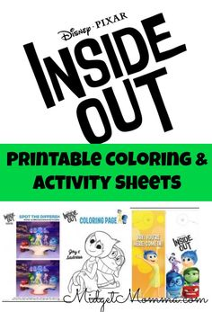 Printable Inside Out Coloring and activity sheets- just download them and print them and the kids will have fun coloring and doing the activities!