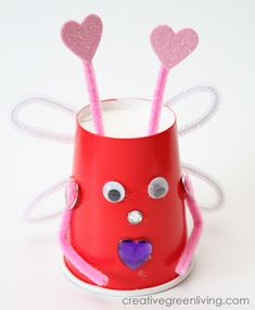 Turn paper cups into these adorable love bugs. This is the perfect Valentines Day kids craft!