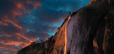 Horsetail Falls, Yosemite National Park in California ~ by Darvin Atkeson . Every year for a few days in the month of February, the sun's angle is such, that it lights up Horsetail Falls in Yosemite, as if it were on fire. Yosemite National Park, National Parks, Places To Travel, Places To See, Horsetail Falls, Destinations, Le Shop, Yosemite Valley, Le Far West