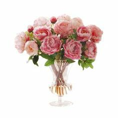 "Handcrafted faux peony arrangement in a glass vase.  Product: Faux floral arrangementConstruction Material: Polyester, plastic and glassColor: Pink and greenFeatures: HandcraftedDimensions: 24"" H x 20"" DiameterCleaning and Care: Dust with a dry cloth"