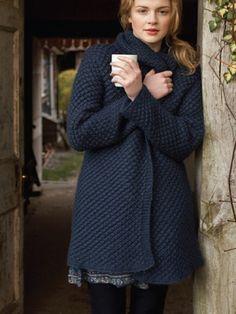 debbie bliss daisy stitch coat - no pattern, just inspiration Crochet Coat, Crochet Clothes, Knitted Coat, Coat Patterns, Knitting Patterns, Knitting Tutorials, Stitch Patterns, Crochet Patterns, How To Purl Knit