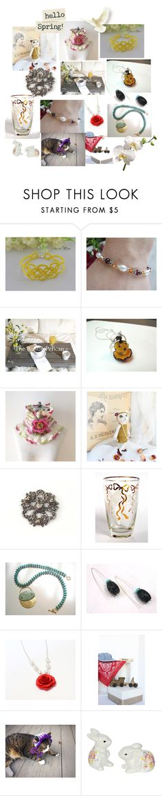 """""""Hello Spring"""" by anna-recycle ❤ liked on Polyvore featuring Giallo, Libbey, modern, rustic and vintage"""