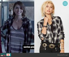 2bcec25eda Malia s grey striped knit tank top and plaid shirt on Teen Wolf