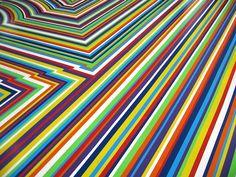 Vinyl tape floor by Jim Lambie Jim Lambie, Colored Tape, Shadow Art, Old Mother, Love People, Rainbow Colors, Art Museum, Cool Art, Contemporary Art