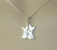 Sterling Silver Rabbit Bunny Necklace Pendant by shellycollection, $20.00