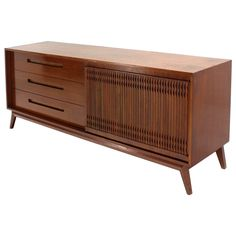 Danish Mid-Century Modern Walnut Long Credenza Dresser with Sliding Door