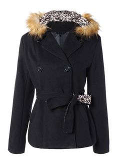 #SammyDress - #Rosewholesale Slim Fitted Faux Fur Hooded Double Breasted Coat - AdoreWe.com