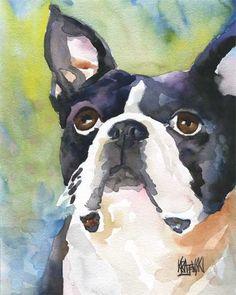 Boston Terrier Art Print of Original Watercolor by dogartstudio