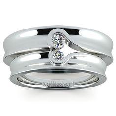 Matching Bezel Heart Concave Diamond Wedding Ring Set in Platinum www.brilliance.co...