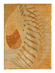 A rug in earth tones and flashes of other brighter colors like greens and reds using abstract and geometrical designs F598-3429