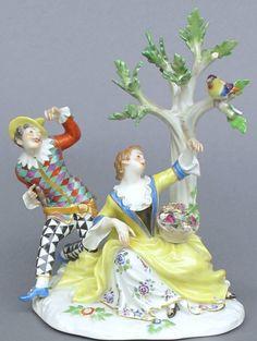 Meissen Model: 782        Description: Harlequin And Girl   Modeled By: Johann Joachim Kaendler 1745   Mark: 782       Painter