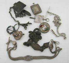NICE LOT OF VICTORIAN STERLING SILVER WATCH CHAIN FOB PIN BROOCH LOCKET ANTIQUE