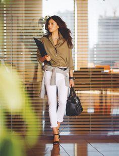 キチッとスタイルに腰巻きグレーパーカー♪ 〜きれいめカジュアル系タイプのファッション スタイルのアイデア コーデ〜