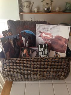 Horse lover gift basket complete with grooming supplies horse themed basket for horse lover negle Image collections