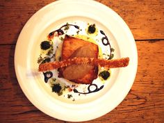 Pork belly, crispy skin, apple compote @Melissa Barkley Lane Bistro
