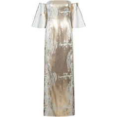 Carla Zampatti Metallic Trumpet Gown ($1,100) ❤ liked on Polyvore featuring…