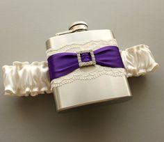 Ivory & Purple FLASK GARTER with Rhinestone Buckle -- Bride or Bridesmaid Wedding Garter -- Ready to Ship