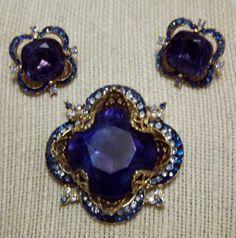 Exceptional Vintage Coro Craft Sapphire Blue Rhinestone Regal Brooch Earrings EC #Corocraft
