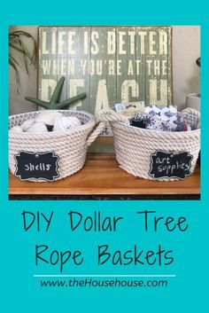 DIY Dollar Tree Rope Basket - the House house % Diy Projects On A Budget, Diy On A Budget, Diy Craft Projects, Dollar Tree Store, Dollar Store Crafts, Dollar Stores, Tree Rope, Rope Basket, Beach Crafts
