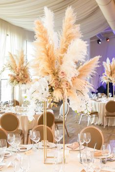 Complete your wedding reception table decoration with unique wedding centerpieces ideas. Grass Centerpiece, Wedding Table Centerpieces, Wedding Decorations, Graduation Centerpiece, Quinceanera Centerpieces, Simple Centerpieces, Candle Centerpieces, Gatsby Wedding, Our Wedding