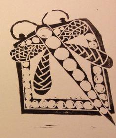 Dragonfly lino print