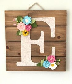 Personalized Nursery Wall Art with Felt Flowers, wood wall hanging, letter wall decor, woodland nurs Letter Wall Decor, Nursery Wall Decor, Nursery Art, Decorative Letters For Wall, Bedroom Decor, Personalized Wall Art, Personalized Baby Gifts, Felt Crafts, Diy And Crafts