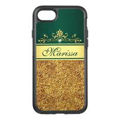 #gold - #Gold Glitter Green Stylish OtterBox iPhone 7 Case