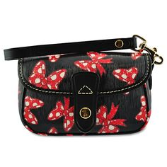 Minnie Mouse Bow Wristlet Bag by Dooney & Bourke - Black. ..comes in a white background too. On Sale.