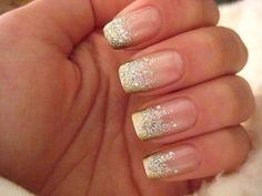 glitter nails natural and silver