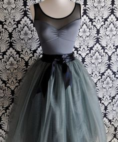 Grey tulle skirt for women--lined in black satin with black satin waist and silky sash.