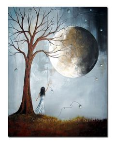 SURREAL ART PRINT blue moon girl dreaming