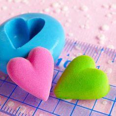 Puffy Heart Mold 14mm Flexible Silicone Mold DIY Jewelry Earrings Mold Kawaii Scrapbooking Mold Fondant Gumpaste Valentine Chocolate Mold. $4.75, via Etsy.
