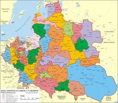 POLAND Administrative division of the Polish–Lithuanian Commonwealth in around the time of Commonwealth's greatest extent. Poland Map, Lithuania Travel, France Map, Fantasy Map, Poster Prints, Art Prints, Arte Popular, Historical Maps, World